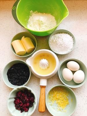 黑加仑蔓越莓朗姆酒柠檬磅蛋糕的做法 步骤1