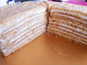 俄罗斯提拉米苏蜂蜜千层蛋糕(原味)的做法 步骤18