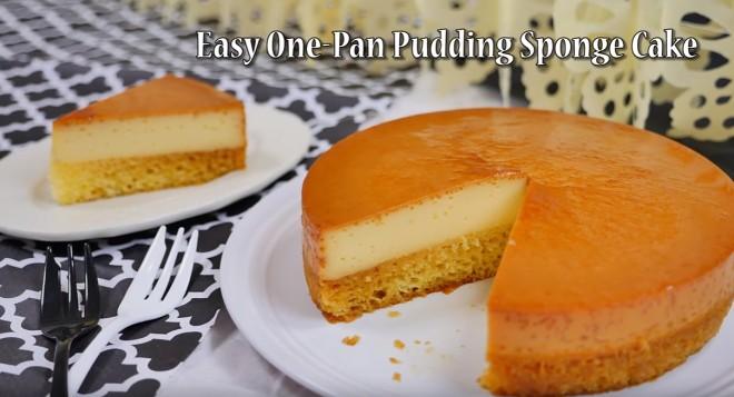 只需烤一次的简易布丁海绵分层蛋糕的做法