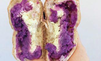 无油无糖全麦紫薯奶酪欧包