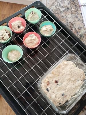 懒人的美味~香蕉蓝莓爆浆蛋糕的做法 步骤4