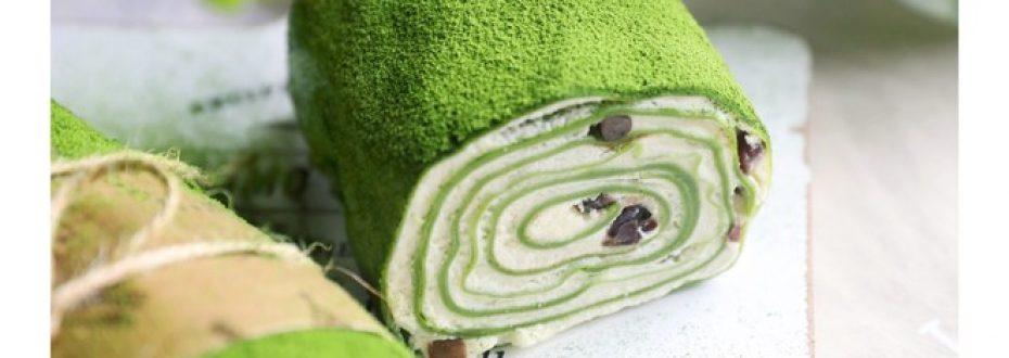抹茶红豆毛巾卷  制作方法