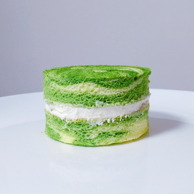 抹茶酸奶花纹小蛋糕的做法