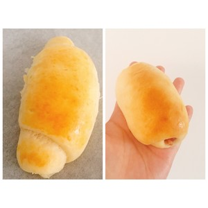 松软的肉松(香肠)(牛角)面包的做法 步骤10