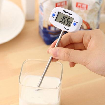 雨花泽(Yuhuaze)厨房食品电子温度计 探针式烘焙温度计 测水温油温食品测温计 温度表
