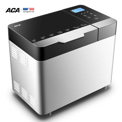 北美电器(ACA )面包机 全自动撒果料和面 拉丝不锈钢机身AB-SF16A