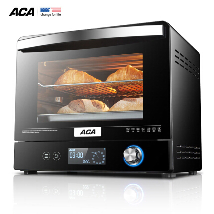 北美电器(ACA)电烤箱家用烘焙多功能全自动智能语音播报 实时温度显示 独立温控 ATO-E38AC