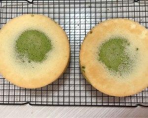 六寸抹茶戚风蛋糕胚,不回缩不塌陷的做法 步骤11