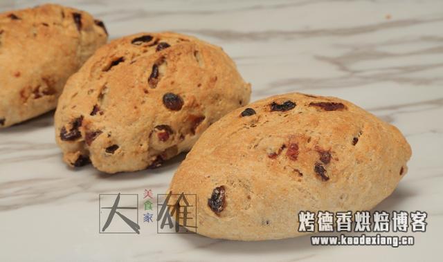 自制蔓越莓全麦面包